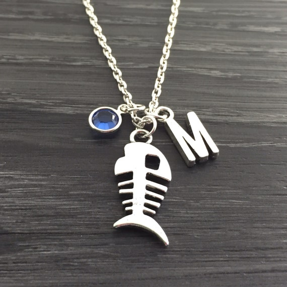Items similar to personalize fish bone necklace with for Fish skeleton necklace