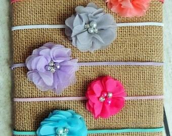 Petitte chiffon flower on skinny elastic headband, newborn headband, baby headband, headband set