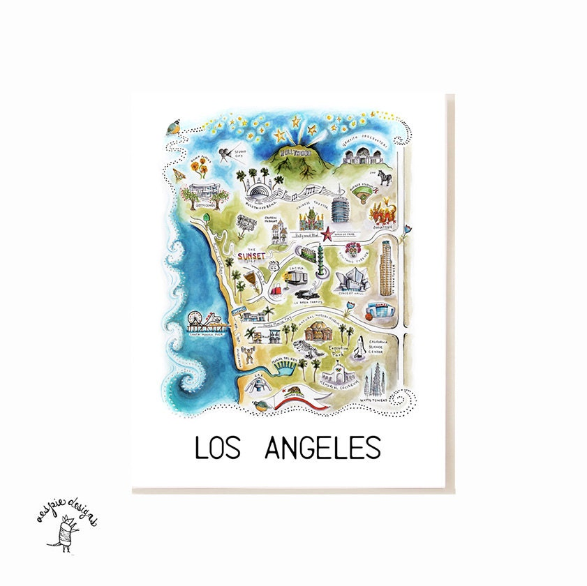 Los Angeles City Map Art Print Watercolor Illustration