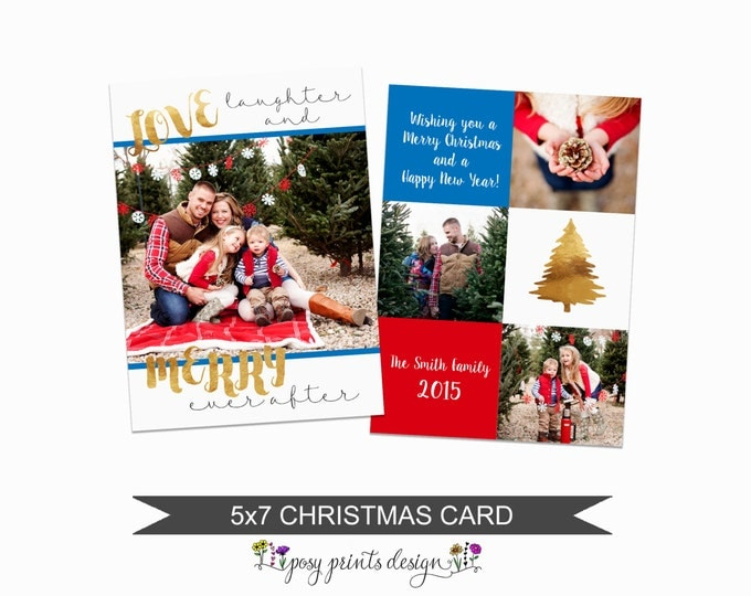 Christmas Card Template Bright & Gold  - 5x7 Photo Card - Photoshop Template - INSTANT DOWNLOAD or Printable - CC15