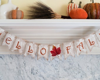 Rustic Fall Banner, Hello Fall Banner, Fall Burlap Banner, Fall Banner, Fall Decor,B096