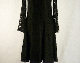 ON SALE Mod Black Lace Mini Dress with Bell Sleeves Mad Men Late 1960's Early 1970's