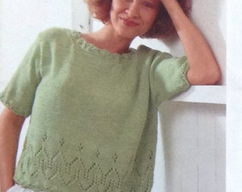 Knitting Pattern Ladies/Woman's Aran/ Fisherman /10 ply Jumper/Sweaters With Lace Trim Short/Long Sleeved in 2 styles size 32-42in 81-107cm