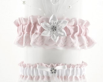 set bridal garter white and pink, lace garter in wedding, vintage, wedding lingerie, handmade garter is stretching, bride garter, puppy 5D
