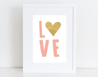 Love - Printable art , Instant download, Typrography, Wall Art, Nursery, Shower, Kid deco , Valentine