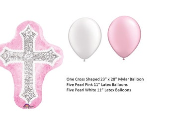 Cross Mylar Balloon with pink & white latex