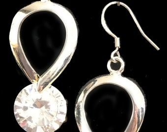 Silver and Crystal Rhinestone Earrings