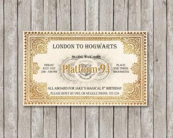 Harry Potter Invitation, Harry Potter Birthday, Baby Shower, Bridal Shower, Party Printable, Hogwarts Express Train Ticket, Platform 9 3/4