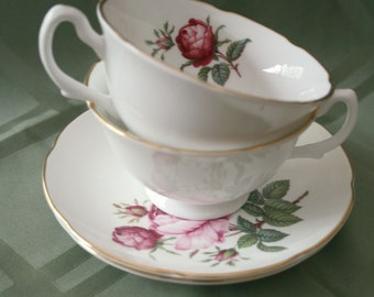 Royal Grafton Fine Bone China, rose pattern, set of 2 cups and saucers made in England
