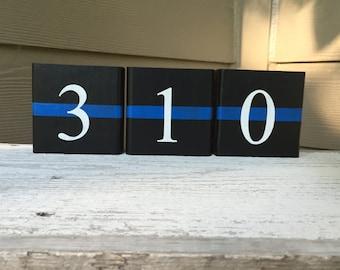 LEO - Law Enforcement - Badge Numbers - Home Decor Wood Blocks (Thin Blue Line)