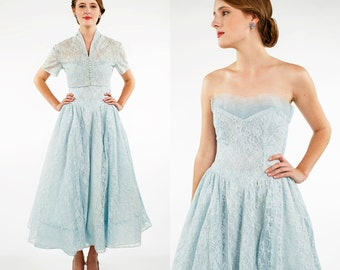 1950s Bridesmaid Dress --- Vintage Strapless Blue Dress with Bolero Jacket Prom Dress