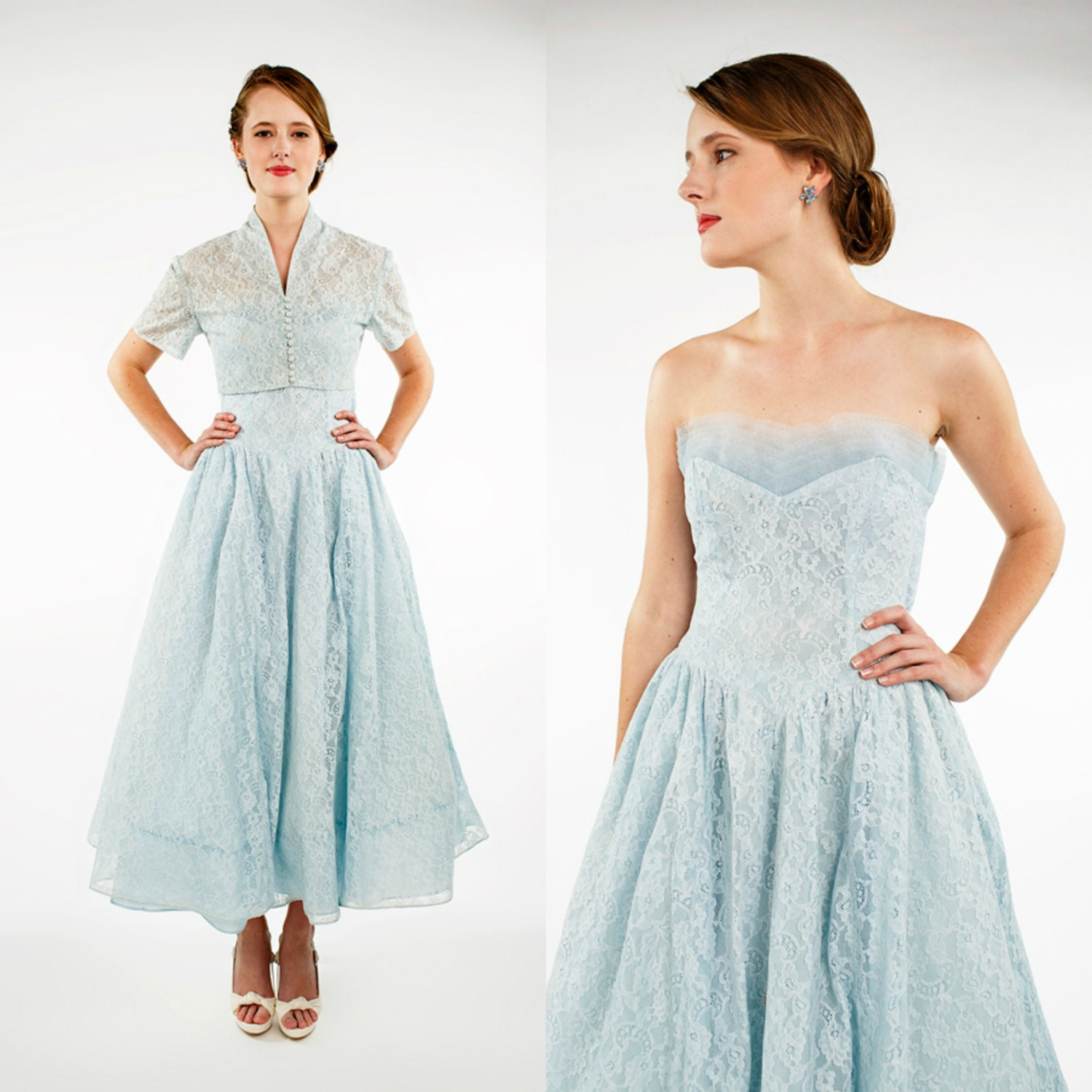 1950s Bridesmaid Dress Vintage Strapless by