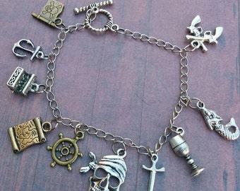 Pirates of the Caribbean fandom bracelet - jack sparrow - davey jones - swann - charm bracelet - cosplay - world's end - jewelry - jewellery