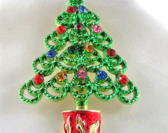 Vintage BJ Christmas Tree Brooch Book Piece