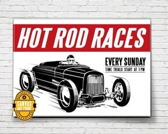 Car Art - Hot Rod Races - Canvas Art Print, Auto Art, Automobile Art, Automotive Decor, Man Cave Art, Car Gift, Hot Rod Art, Garage Art