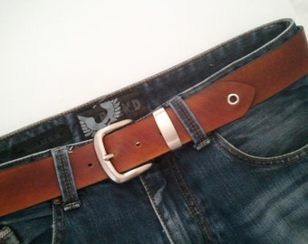 Handmade Leather Belt - Black or Brown