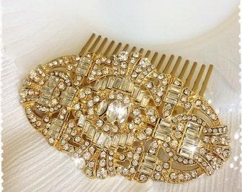 "1920s Great Gatsby Inspired Crystal Gold Comb Wedding Hair Accessory-Vintage Bridal Headpiece-Art Deco Swarovski Crystal Comb-""JORDAN gold"""