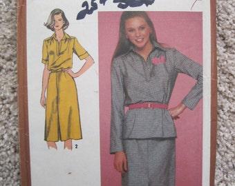 UNCUT Misses' Two-Piece Dress - Simplicity Pattern 9644 - Vintage 1980