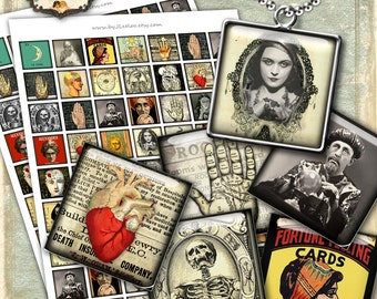 FORTUNE TELLING Digital collage sheet printable - halloween images download for resin glass pendants bezel findings trays magnets - qu460