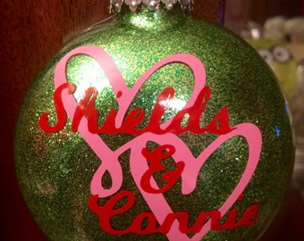 Personalized Anniversary Glitter Disc Shaped Glass Ornament