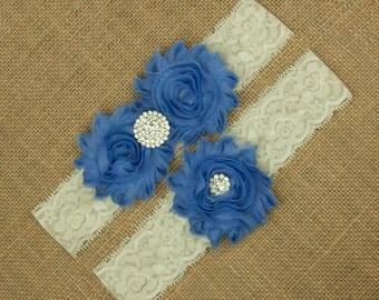 Blue Wedding Garter, Blue Garter Set, Lace Wedding Garter, Lace Garter Set, Something Blue, Blue Garter, Blue Bridal Garter, Garter SCIS-B09