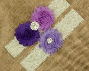 Purple Wedding Garter, Purple Bridal Garter Set, Lace Garter, Lace Garter Set, Bridal Garter, Toss Garter, Keepsake Garter, Garter SCI3-16
