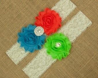 Wedding Garter, Bridal Garter, Wedding Garter Belt, Bridal Garter Belt, Garter Set, Neon Garter, Bright Garter, Custom Garter Set, SCI3-25