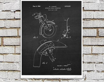 Vintage Harley Davidson Motorbike Patent Art Print #C4 with Chalkboard Image. Gift for Biker, Motorcycle Garage Decor Man Cave Decor