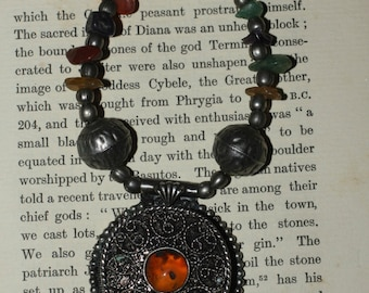Vintage Indian Amulet Box Necklace - on vintage metal and gemstone necklace - Spells, Wicca, Witchcraft