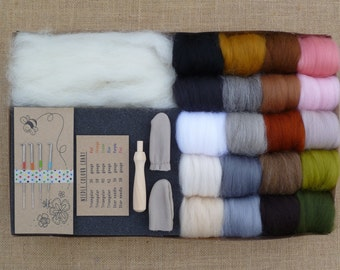 Needle felting kit - Deluxe natural tones - needle felting starter kit - animal miniatures - felting needles - merino wool - yarn - roving