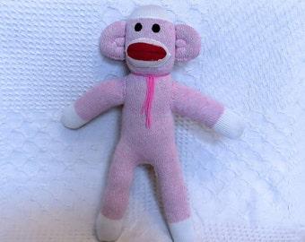 Silvia the Pink Sock Monkey 16 inches by monSOCKeys, Handmade Red Heel Sock Monkey, Stuffed Monkey, Toy, Novelty Gift, Pink Monkey, Doll