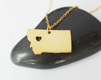 Montana State Necklace Gold,Montana Charm State Necklace, MT State Pendant Jewelry,Montana Necklace With A Heart