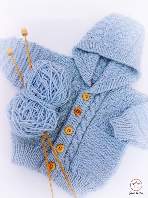 Knitting Pattern Cable Hoodie : Baby Hoodie Knitted Cardigan Baby Jacket Cable Knit Hoodie