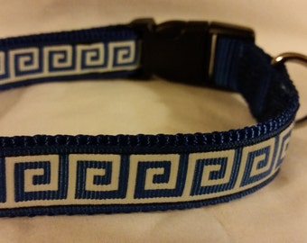 "Greek Swirl 14""-20"" Adjustable Dog Collar, Handmade Dog Collar"