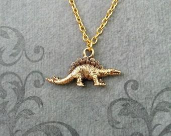 Stegosaurus Necklace VERY SMALL Dinosaur Jewelry Dinosaur Necklace Gold Dinosaur Charm Necklace Dinosaur Pendant Stegosaurus Jewelry