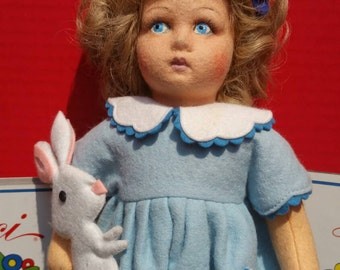 Italian Lenci Felt Doll with rabbit.
