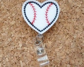 Baseball Heart Badge Reel | Sport ID Badge Reel | Felt Badge Reel | Retractable Name Holder | Nurse / Teachers / Office Workers -  93