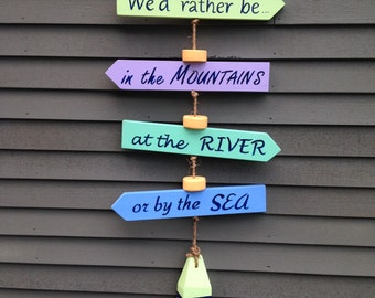 Travel Trailer Decor, Custom Sign, Arrow Sign, Hanging Sign, Lake House Sign,  Camp Sign,  RV Sign, Double Sided Sign, Destination Sign