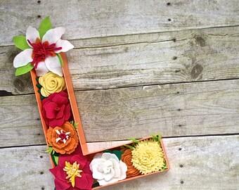 Felt Flower Letter Home Decoration - You pick letter/colors/size