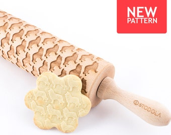 Sheltie - Embossed, engraved rolling pin for cookies