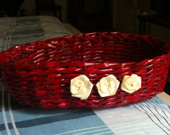 Recycled Newspaper Red Oval Basket
