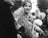 Portobello Road market photo, feather boa, London England, Beatles era, black and white photo, swinging 60s, Notting Hill, vintage photo.