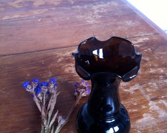 1970s brown glass  vase with flower shaped rim