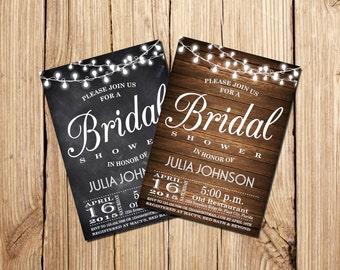 Bridal Shower Invitations, Rustic Bridal Shower Invitation, Vintage Floral Bridal Shower Invitation, Printable Bridal Shower Invitation