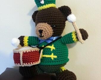 Amigurumi crochet stuffed bear drummer,