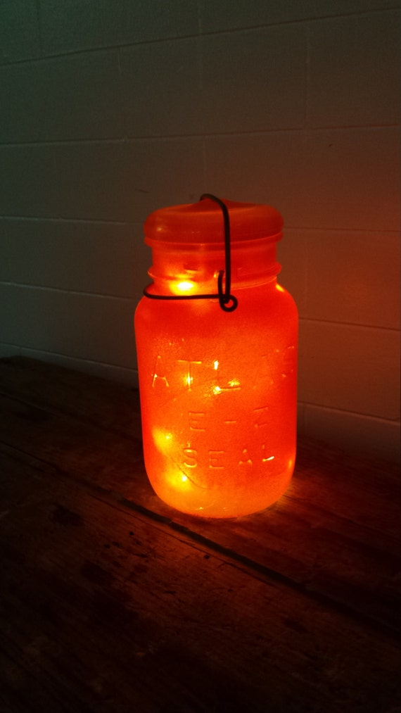 Halloween String Lights Indoor : Indoor/Outdoor Orange Vintage Mason Jar String by LoehrHillFarm
