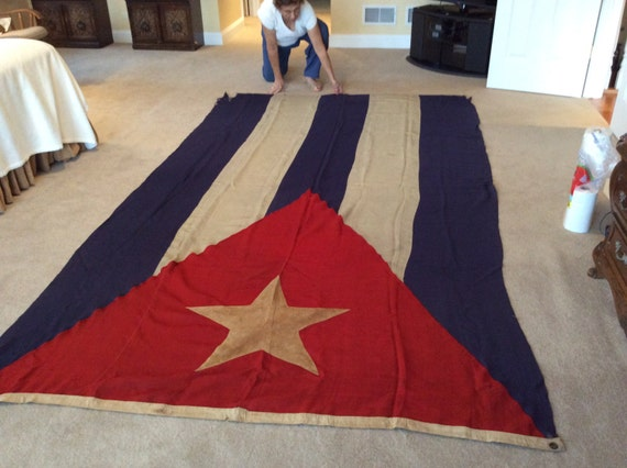 Vintage Antique Cuban Flag Historic Old Bandera Grande Big