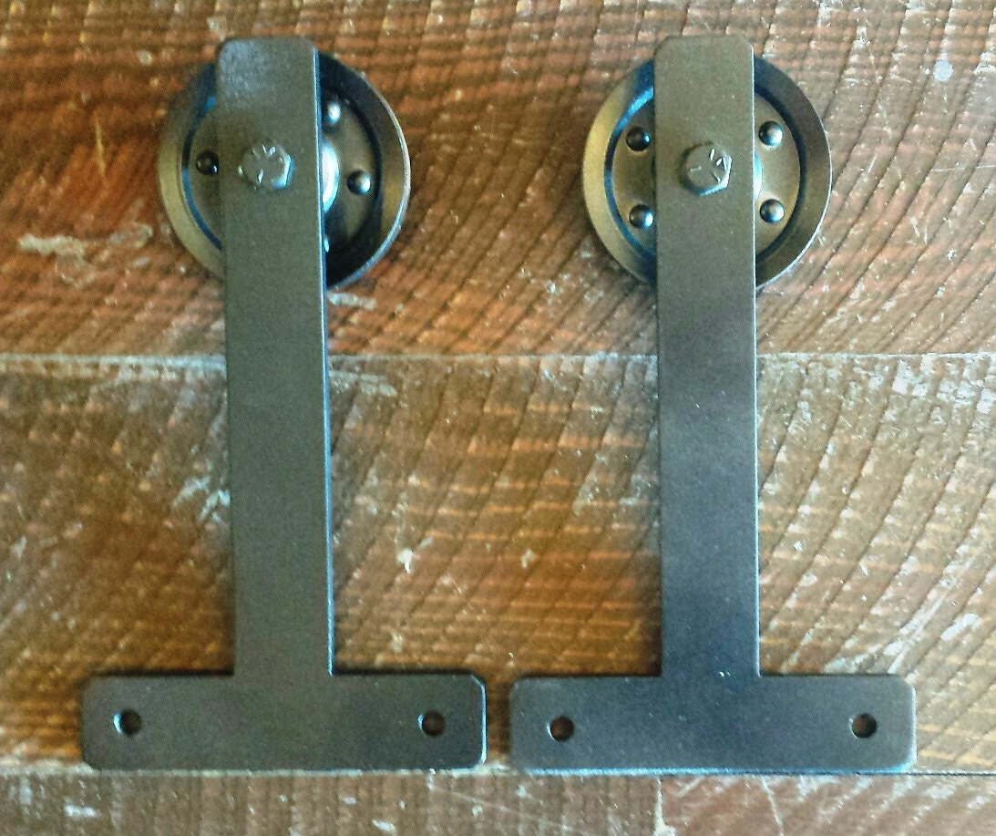 Sliding barn door t shaped hanger hardware set