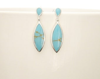Turquoise Dangle Earrings - Sterling Silver Earrings, Turquoise Earrings, Bright Blue Earrings, Dainty Earrings, Silver Jewelry.