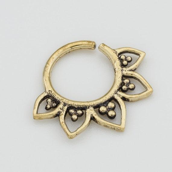 Tribal Septum Ring for pierced nose. septum piercing. brass septum ring. tribal septum ring. tribal septum. brass septum. septum ring. rs17.